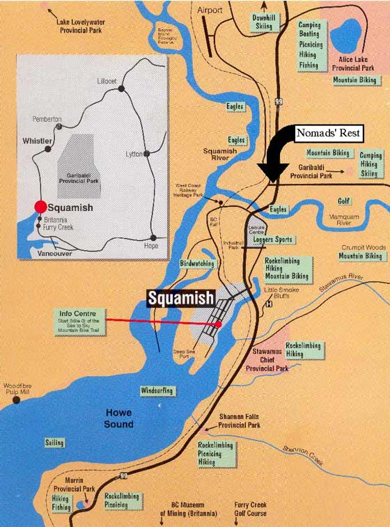 Squamish map & directions to Nomads' Rest